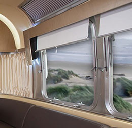Window treatments, shades, and shutters for RVs, motor homes